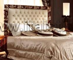 Кровать (170*190), изголовье красное дерево, детали из серебра с эффектом состаривания, панель и периметр кровати кожа Florida col.2024 (Art. 1251/A) - Living